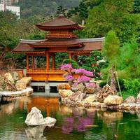 traditionell byggnad på nan lian trädgård i Hong Kong