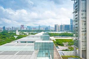 Flygfoto över den kinesiska staden, Shenzhen foto