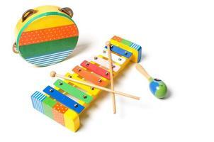 tamburin, skralla och xylofon foto
