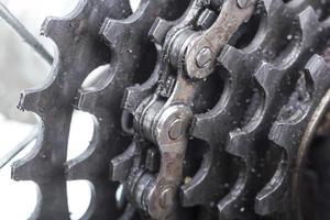 närbild av cykel bakhjul. foto