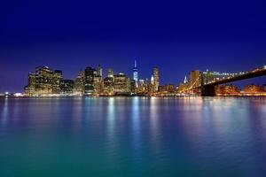 brooklyn bridge solnedgång new york manhattan foto