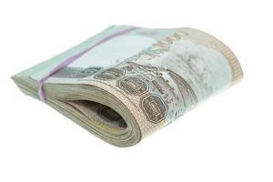 stäng upp thailändska pengar i tusentals sedlar foto