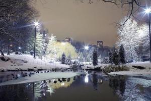 central park nyc på natten på vintern foto