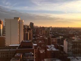 chicago skyline skymning foto