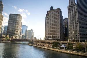 usa - illinois - chicago, chicago river skyline
