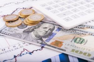 affärsidé med miniräknare, glasögon, pengar och dokument foto