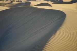 sandiga och vågiga sanddyner i en öken av Gran Canaria foto