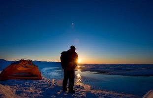 ett tält i Huron sjön foto