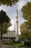 minareter, blå moské foto