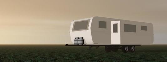 husvagn - 3d framför foto