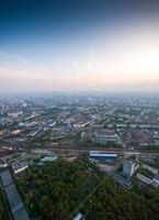 fågelperspektiv av Moskva i gryningen foto