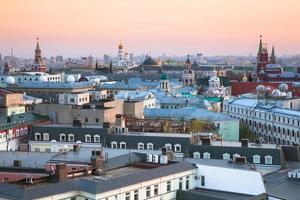 solnedgång utsikt över centrum av Moskva, Ryssland foto