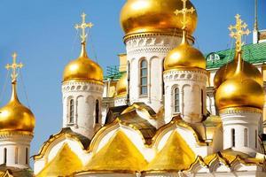 gyllene kupoler för utlysningskatedralen, Moskva foto
