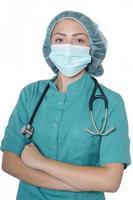 kvinnlig läkare eller kvinnlig sjuksköterska foto