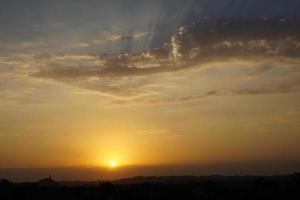 solnedgång och öken foto