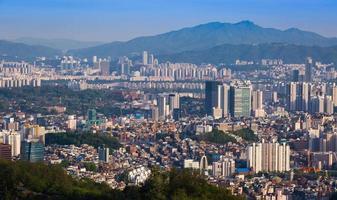 Seoul stadshorisont, Sydkorea. foto