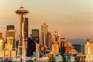 solnedgång över Seattle i centrum