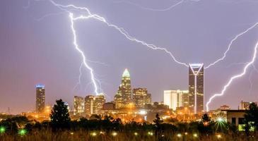 åskväder blixtnedslag över charlotte stadens silhuett i nr foto