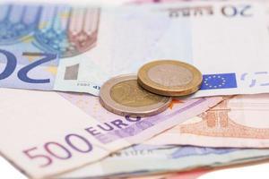 pengar euromynt och sedlar foto