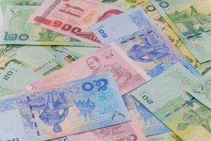 närbild av thailändska pengar foto