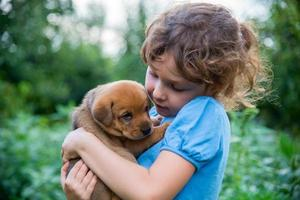 liten flicka med en valp i armarna