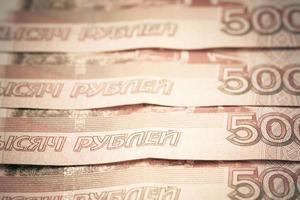 bakgrund av ryska rubel. foto