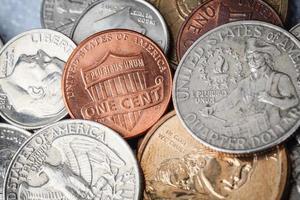 grupp av oss amerikanska mynt en cent foto