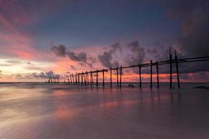 trä fiskare bro, Thailand foto