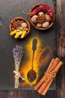 kryddor muskotnötter, kanel, kardemumma, stjärnanis, varm chili och gurkmeja foto