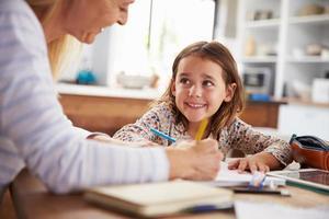 mamma som lär sin dotter hemma