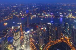 Flygfoto över shanghai lujiazui finans foto
