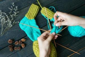 strumpor, strumpor, vinter, stickad, handgjord foto