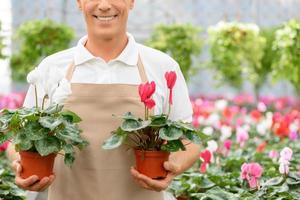 professionell blomsterhandlare som arbetar i växthuset foto