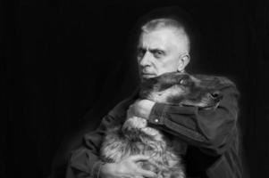 man och hund foto