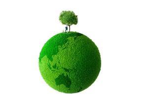 grön planet med man och hund foto