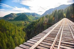 underbar järnväg med vacker natur i USA foto