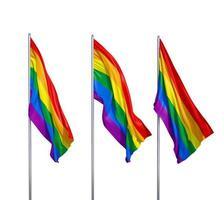 tre flaggor av lgbt foto