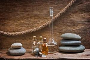 injektionsflaskor med eteriska oljor foto