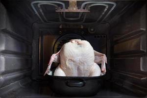 rå kyckling i ugnen foto