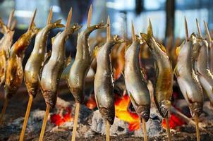 japansk gatamat, grillspett med sötvattenfiskspett. foto