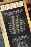 typisk fransk meny foto
