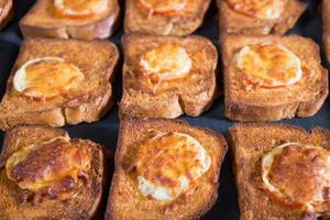 rostat bröd med tomat och ost foto
