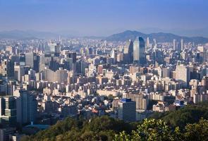 Seoul City och centrum horisont i solnedgången, Sydkorea foto