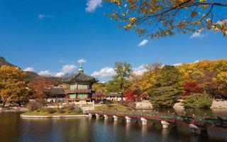 gyeongbokgung palats på hösten foto