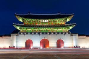 gyeongbokgung palats på natten i Seoul, söder