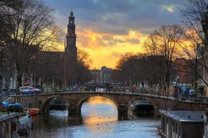 westerkerk solnedgång bro foto