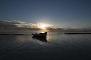 solnedgång strand skott foto