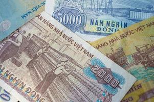 bakgrund från sedlar. vietnamesisk dong foto