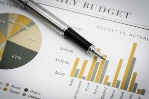 visar affärs- och ekonomirapport foto