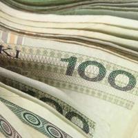 poland valuta pengar polska zloty sedlar och mynt. närbild foto